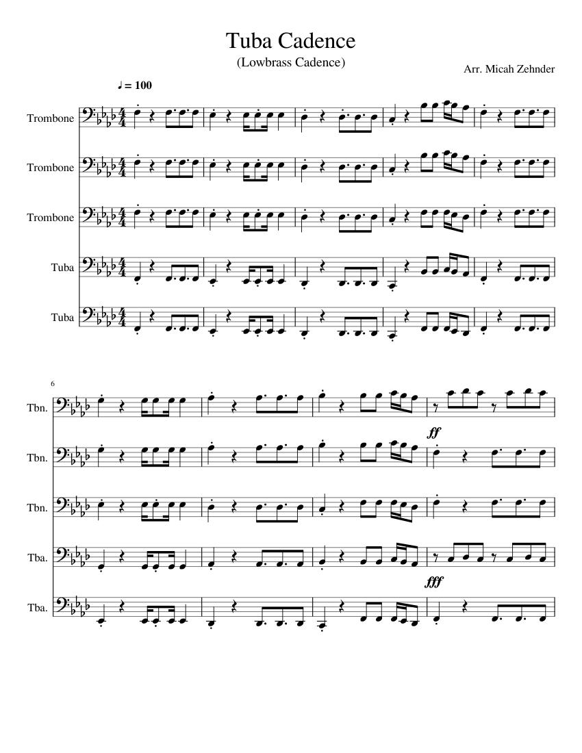 tuba cadence sheet music for trombone tuba download free in pdf or midi