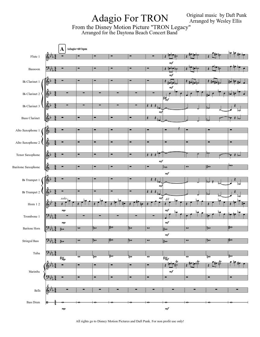 Adagio For Tron Sheet Music Download Free In Pdf Or Midi 2003 Lincoln Navigator Fuse Panel Diagram