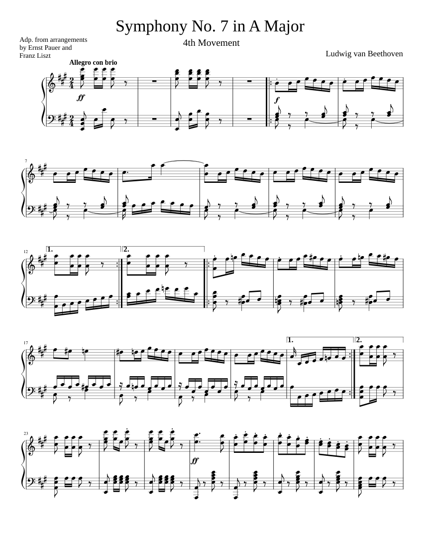 Beethoven Symphony No  7 (4th movement) Piano solo sheet music for