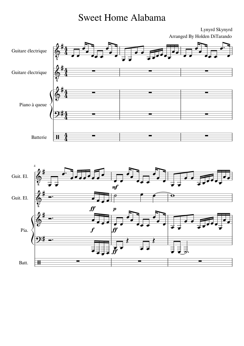 Sweet Home Alabama Sheet Music For Piano Guitar Percussion