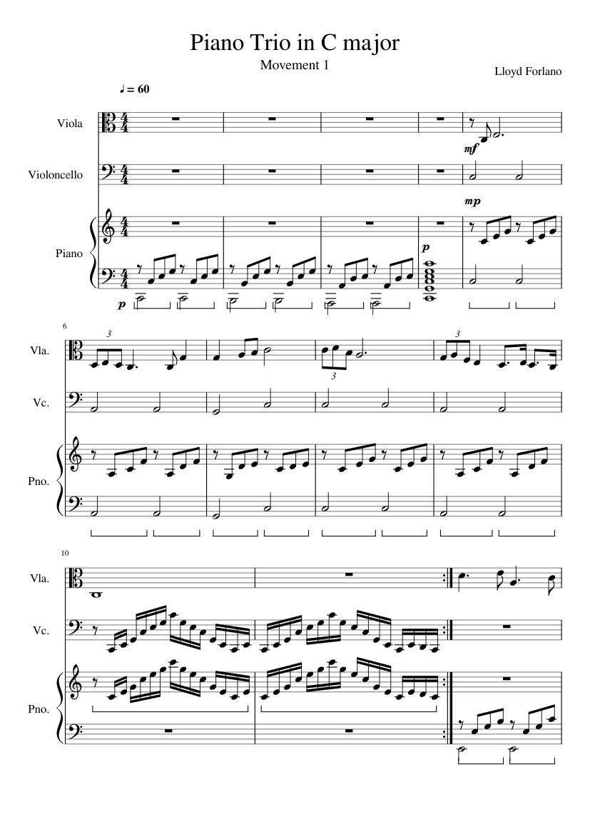 Piano Trio in C Major (Piano Score)