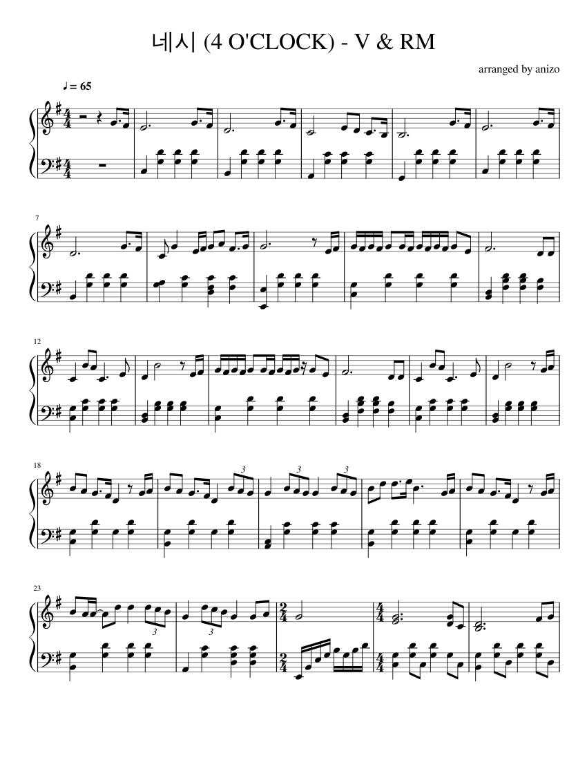 bts v & rm - 네시 (4 o'clock) sheet music for piano (solo)   musescore.com  musescore.com
