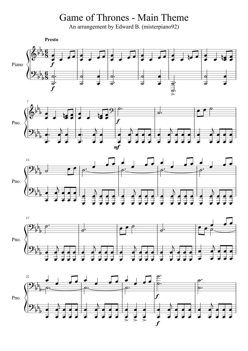 Game Of Thrones Titelmusik Klaviernoten game of thrones - main theme sheet music for piano