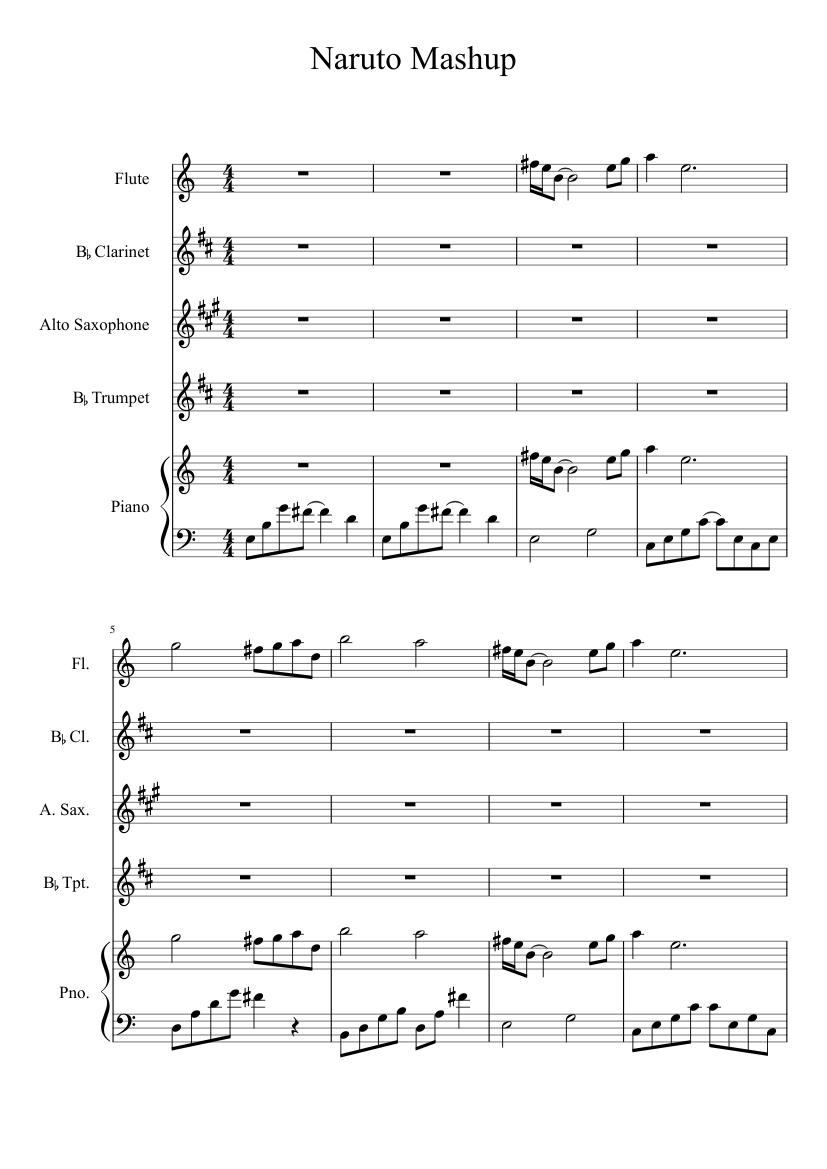 Naruto Mashup sheet music for Flute, Clarinet, Piano, Alto Saxophone