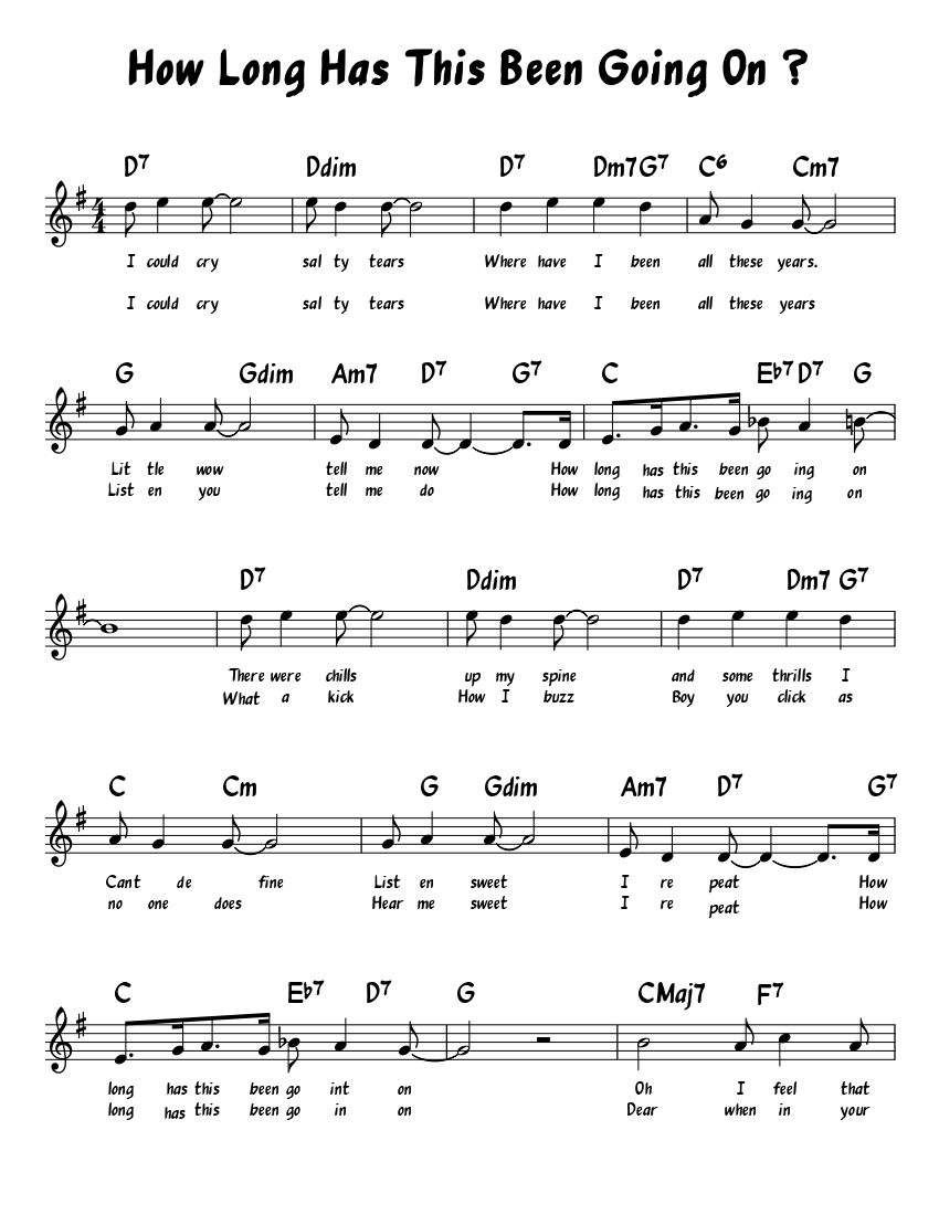 how long has this been going on ? sheet music for piano (solo) |  musescore.com  musescore.com