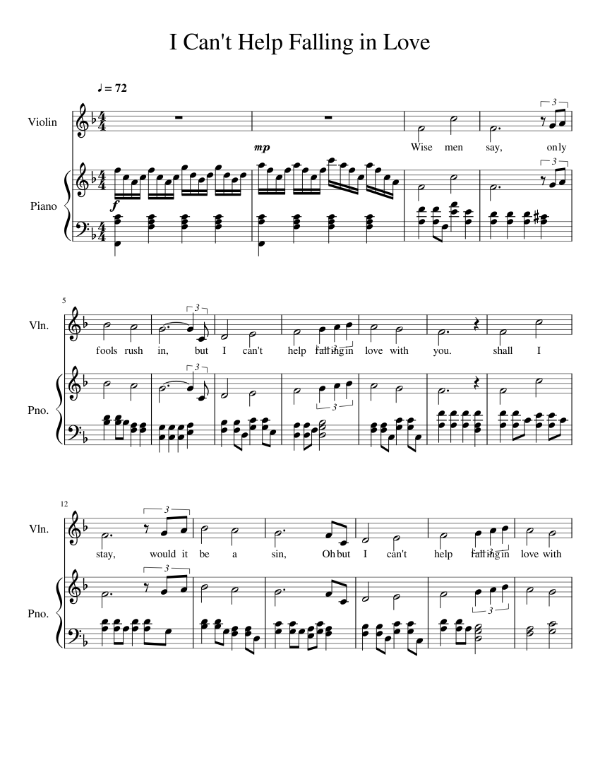 I Can't Help Falling In Love Sheet music for Piano, Violin Solo ...
