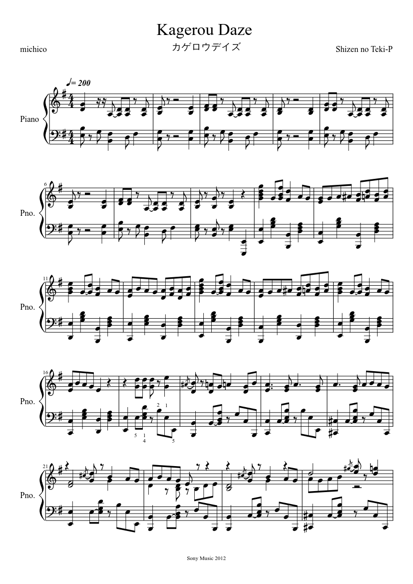 Kagerou Daze  sheet music composed by Shizen no Teki-P – 1 of 10 pages