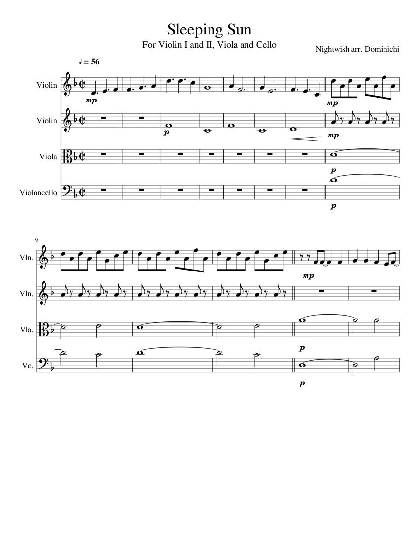 Sleeping sun for strings sheet music for violin, viola, cello.
