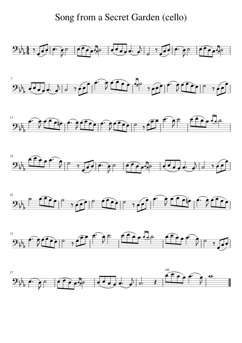 Songs from a secret garden for clarinet sheet music for clarinet.