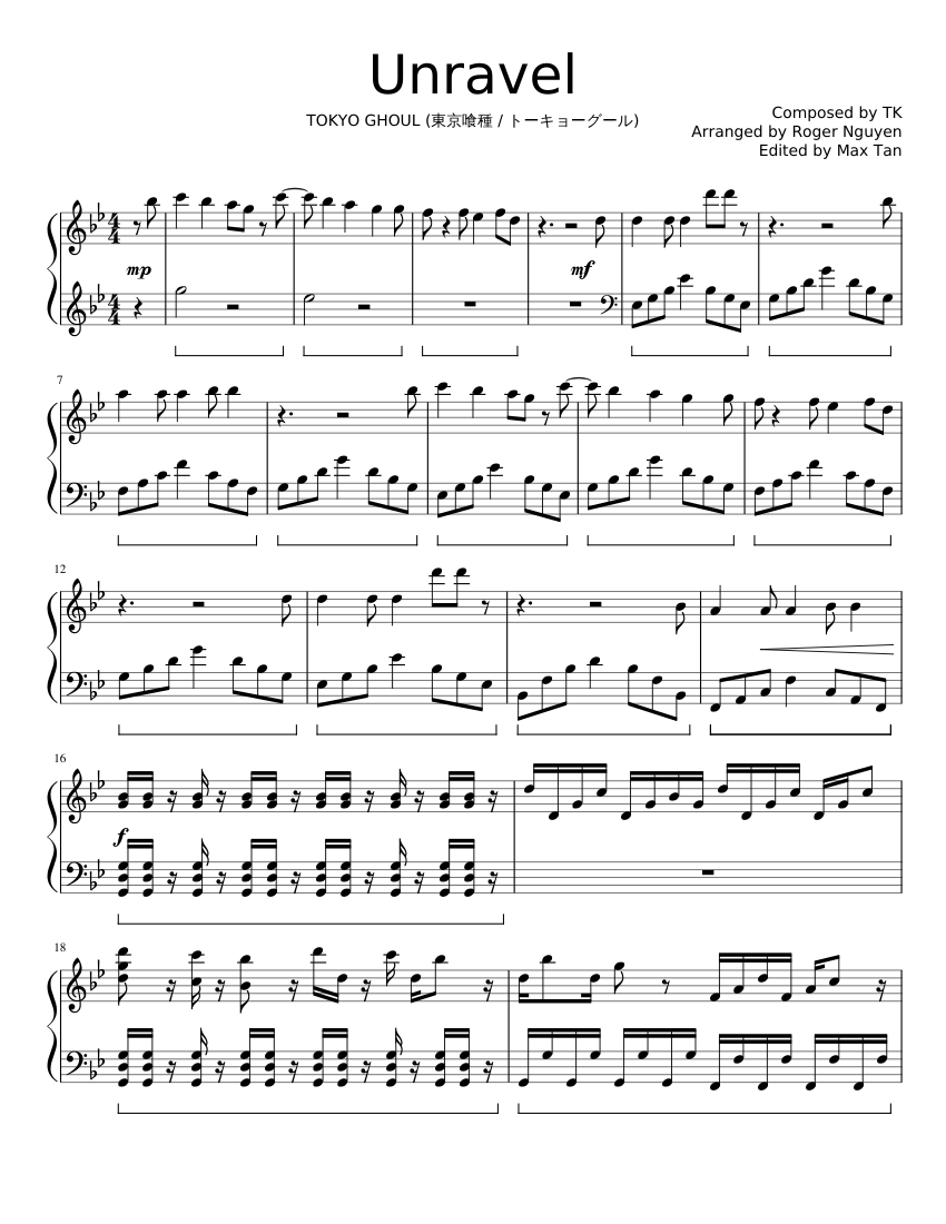 Unravel Easy [Full Version] Sheet music for Piano Solo ...