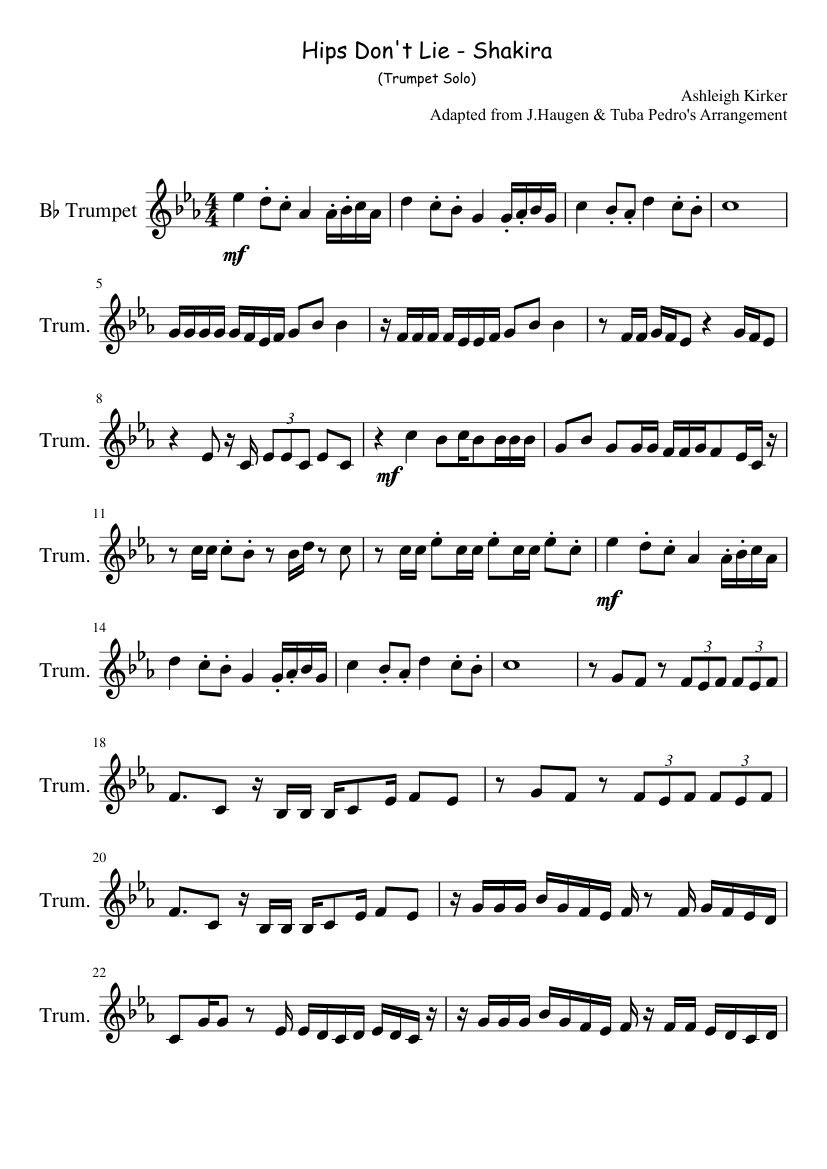 Hips don't lie trumpet solo sheet music for trumpet download.
