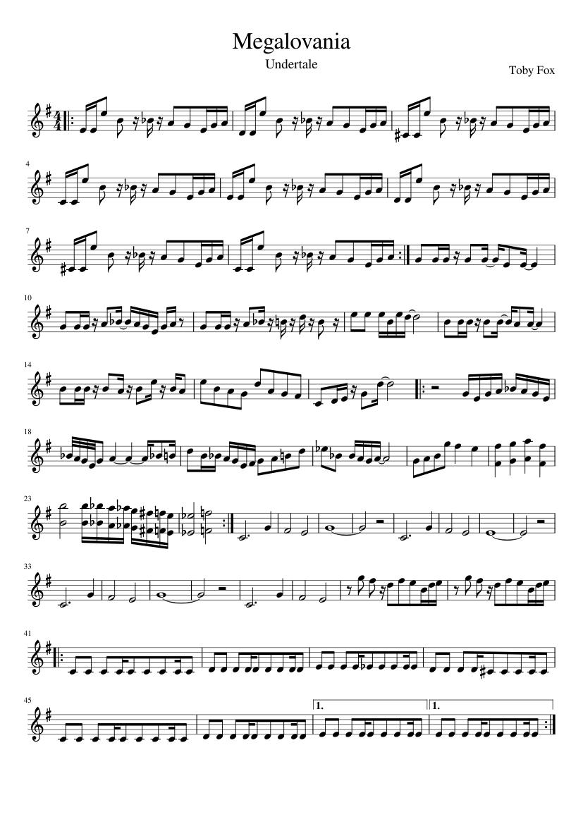 Fox Arrangment Megalovania Sheet Music Trumpet