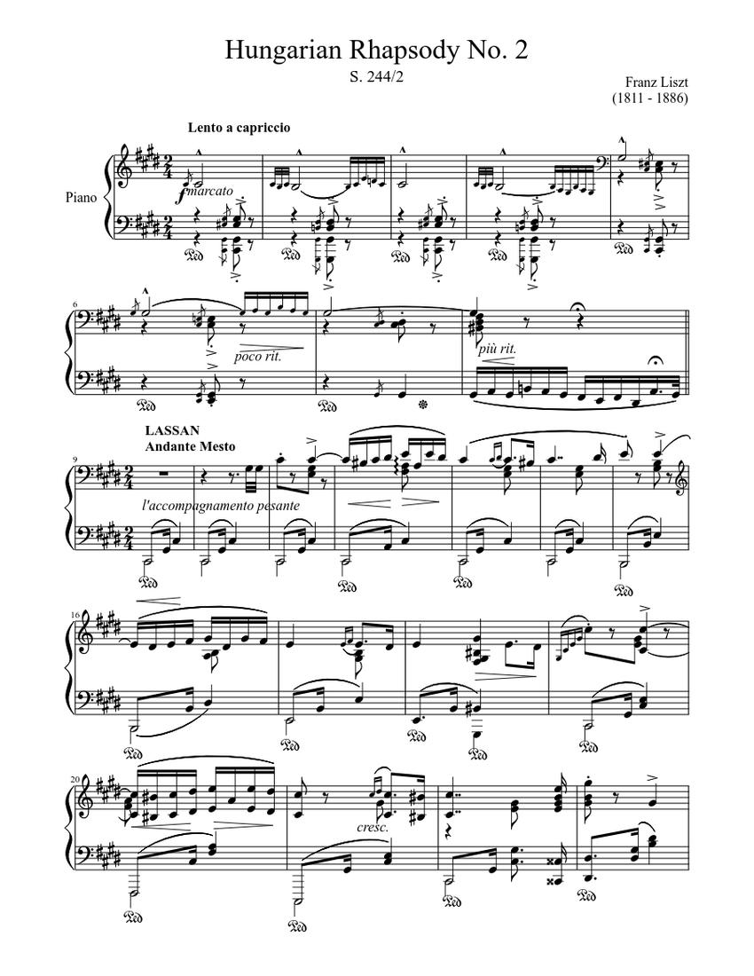 Hungarian Rhapsody No 2 Piano Tutorial