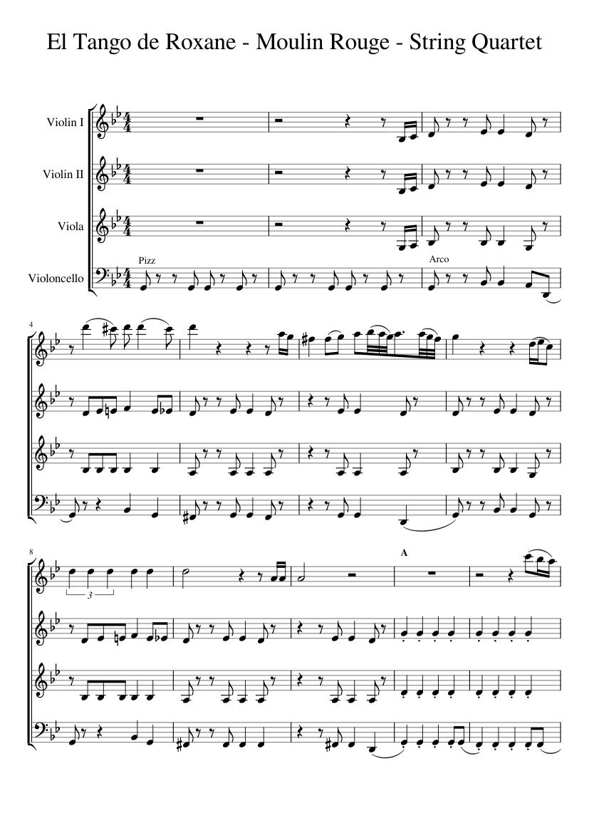 Tango de roxanne sheet music moulin rouge for string quartet.