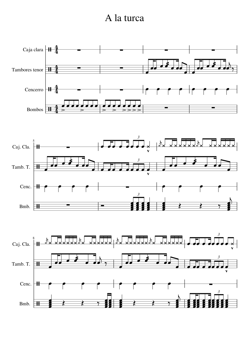 a la turca drumline cadence sheet music for percussion download free