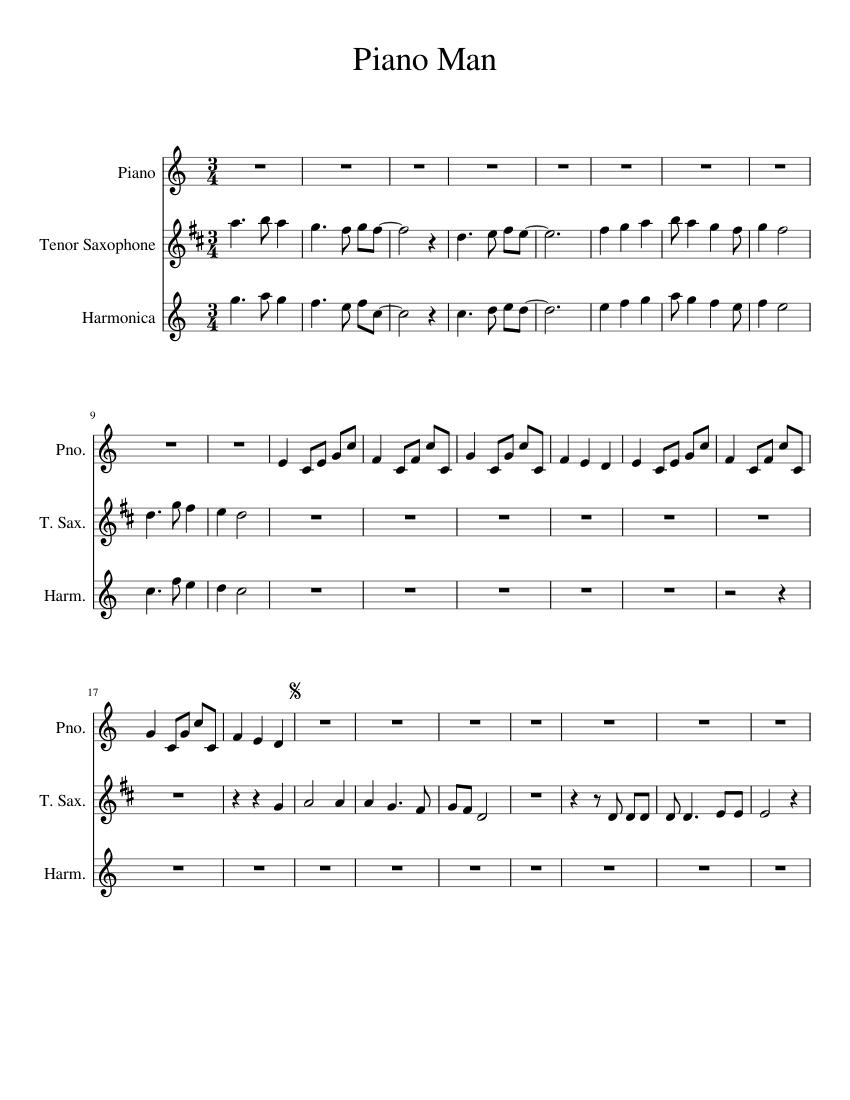 piano man sheet music for piano, saxophone (tenor), harmonica (mixed trio)  | musescore.com  musescore.com