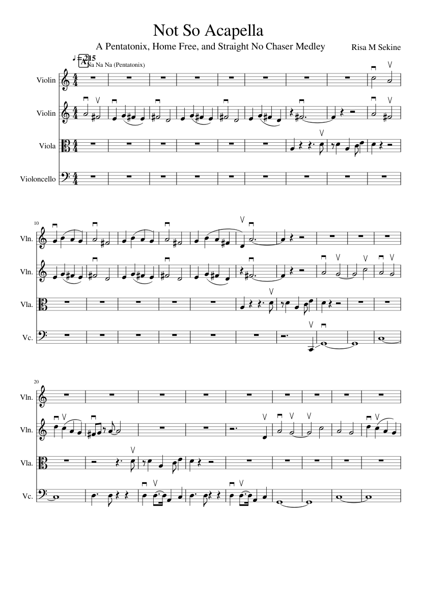 Not So Acapella (a Ptx, Home Free and SNC Medley) sheet music for