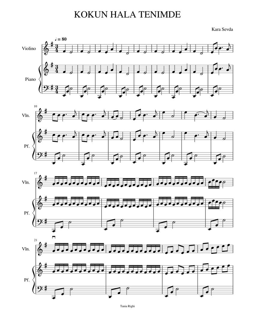 Kokun Hala Tenimde Sheet Music For Piano Violin Solo Musescore Com