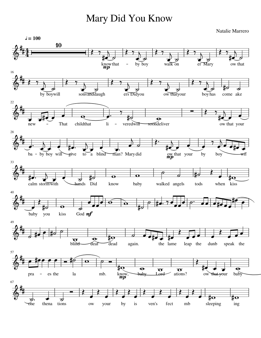 Mary Did You Know? Violin sheet music for Violin download free in