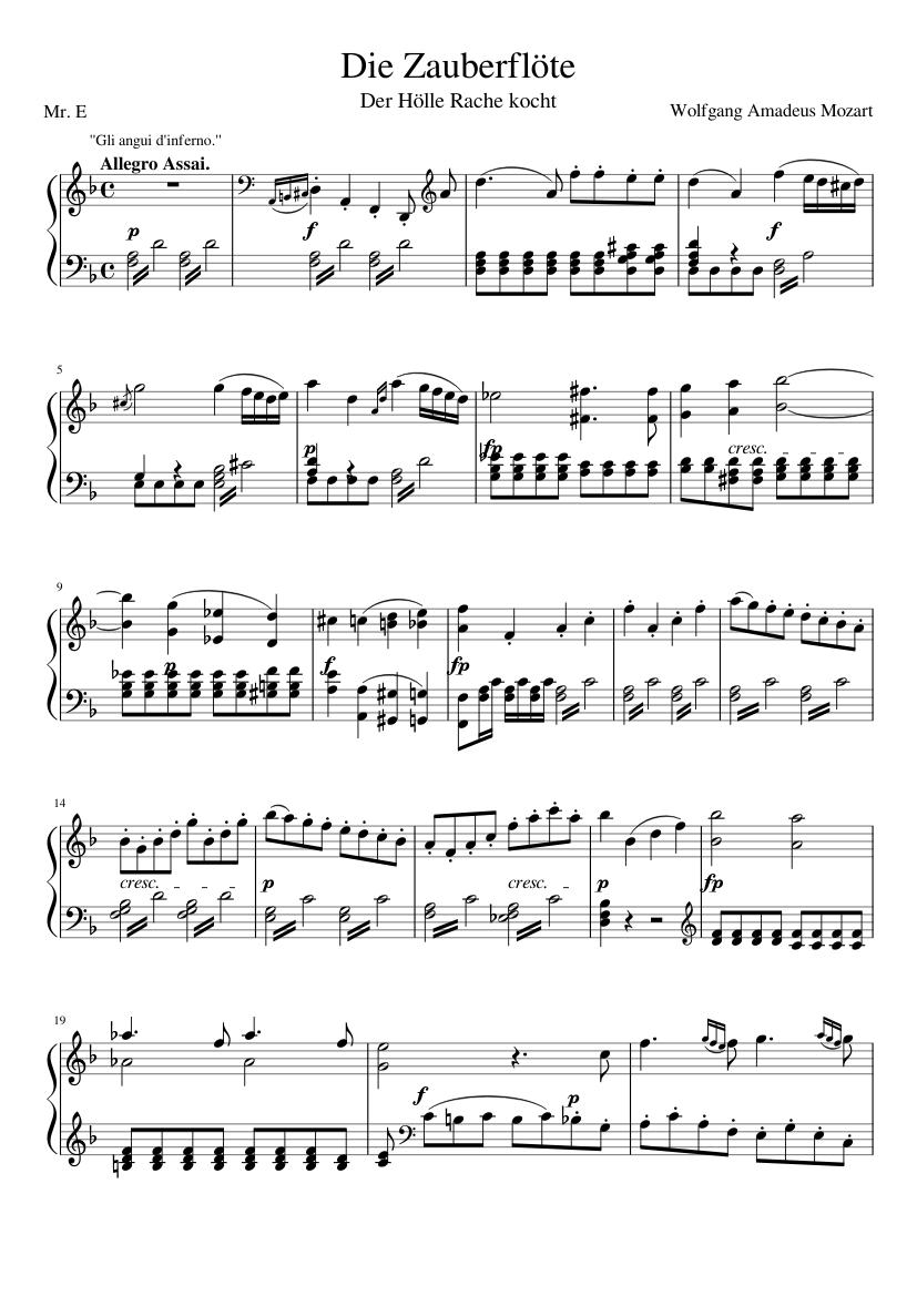 Der Hölle Rache Kocht Piano Solo Sheet Music For Piano Solo Musescore Com