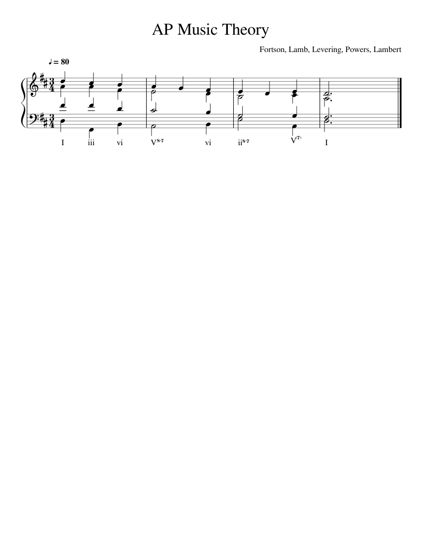 Ap Music Theory Progression Sheet Music For Piano Download Free In