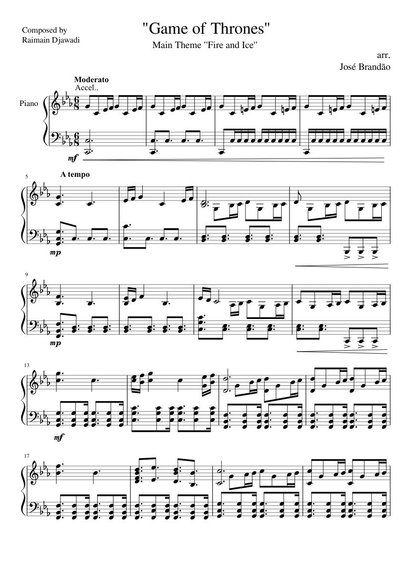"Game Of Thrones Titelmusik Klaviernoten game of thrones"" - ""fire and ice"" theme - piano arrangement"