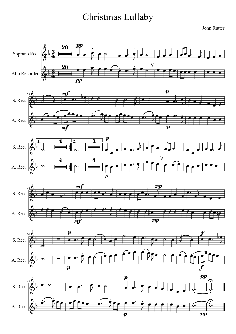Christmas Lullaby sheet music composed by John Rutter – 1 of 1 pages