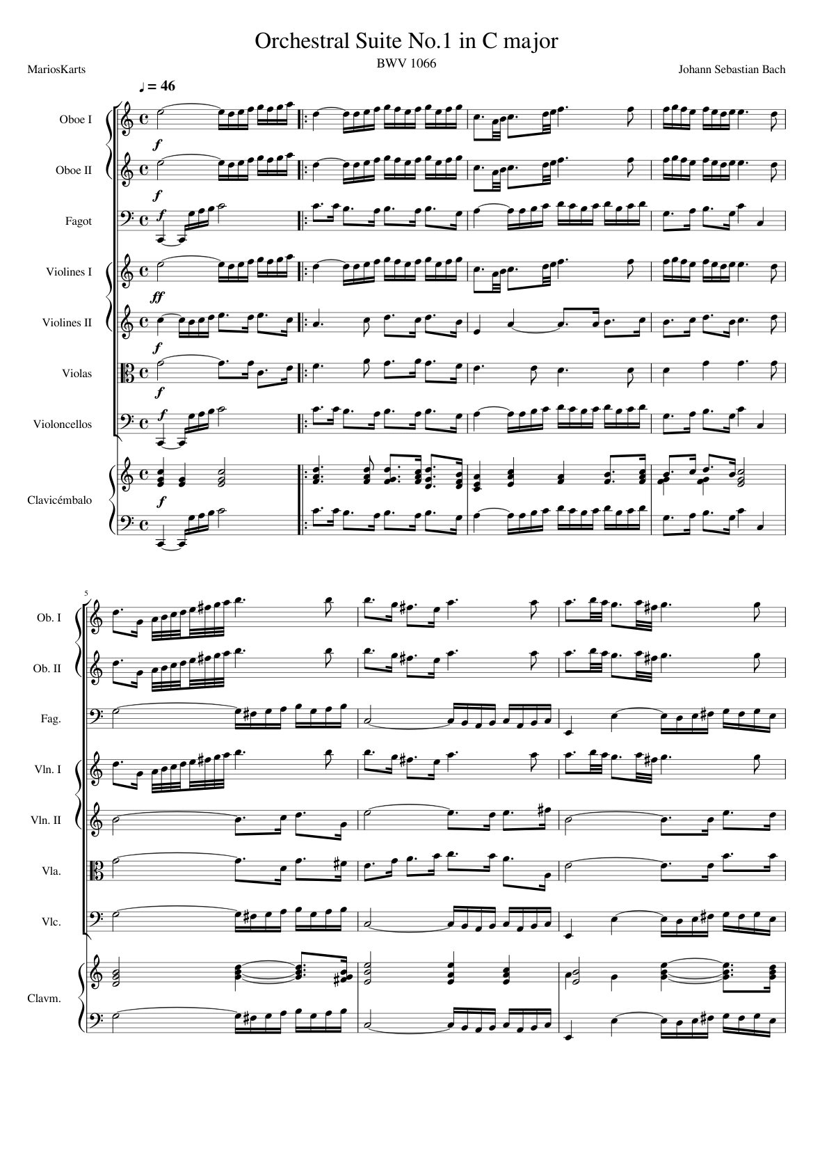 orchestral suite no. 1 in c major, bwv 1066 (wip) sheet music for strings  group, oboe, bassoon, harpsichord (mixed ensemble)   musescore.com  musescore.com