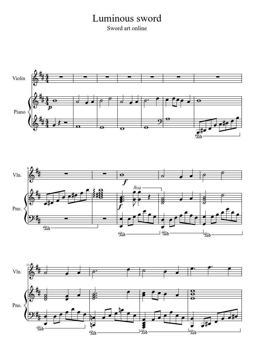 luminous sword sheet music for piano, violin (solo) | musescore.com  musescore.com