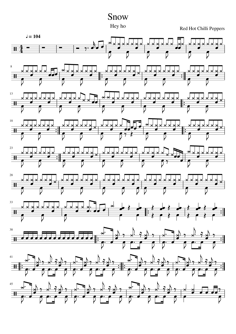 Snow Hey ho Red Hot Chilli Peppers Sheet music for Drum Group ...