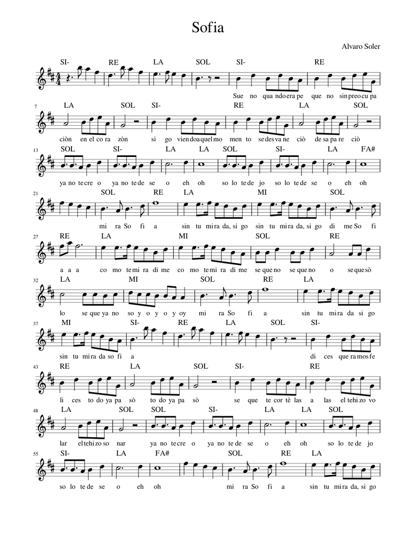 Sofia Alvaro Soler Sheet Music For Piano Solo Musescore Com