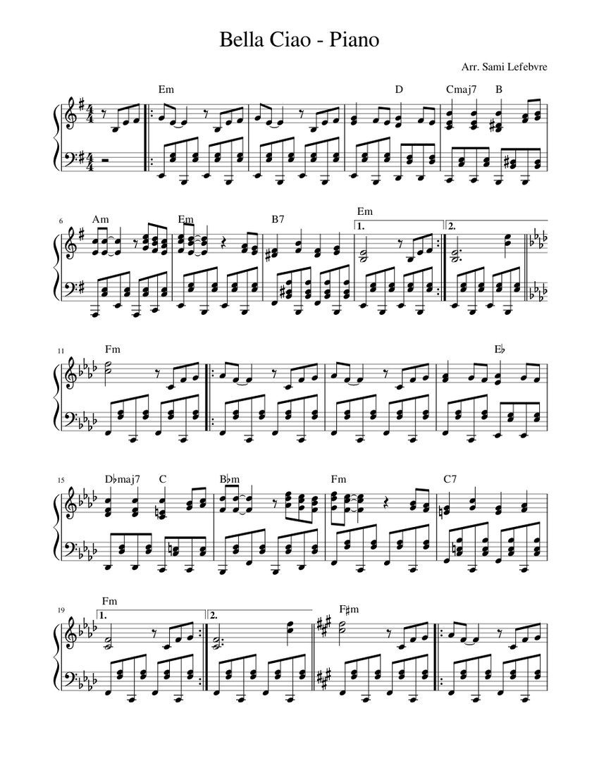 Bella Ciao Sheet Music For Piano Solo Musescore Com