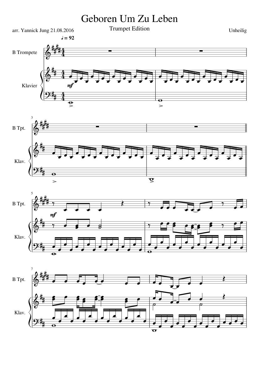 klaviernoten geboren um zu leben