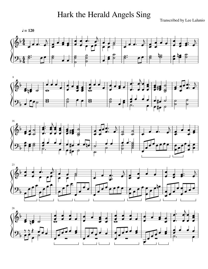 hark the herald angels sing sheet music for piano (solo) | musescore.com  musescore.com