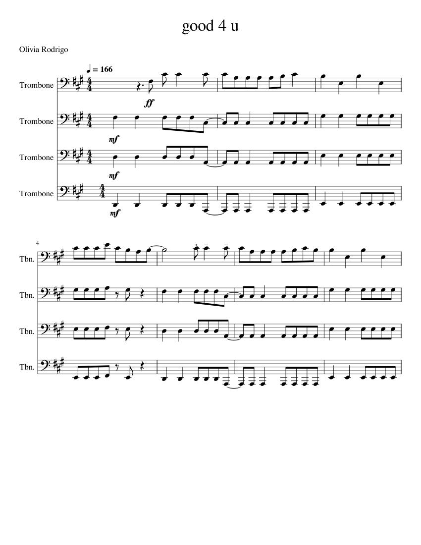 good 4 u – olivia rodrigo sheet music for trombone (brass quartet) |  download and print in pdf or midi free sheet music for good 4 u violin by  olivia rodrigo (rock ) | musescore.com  musescore.com