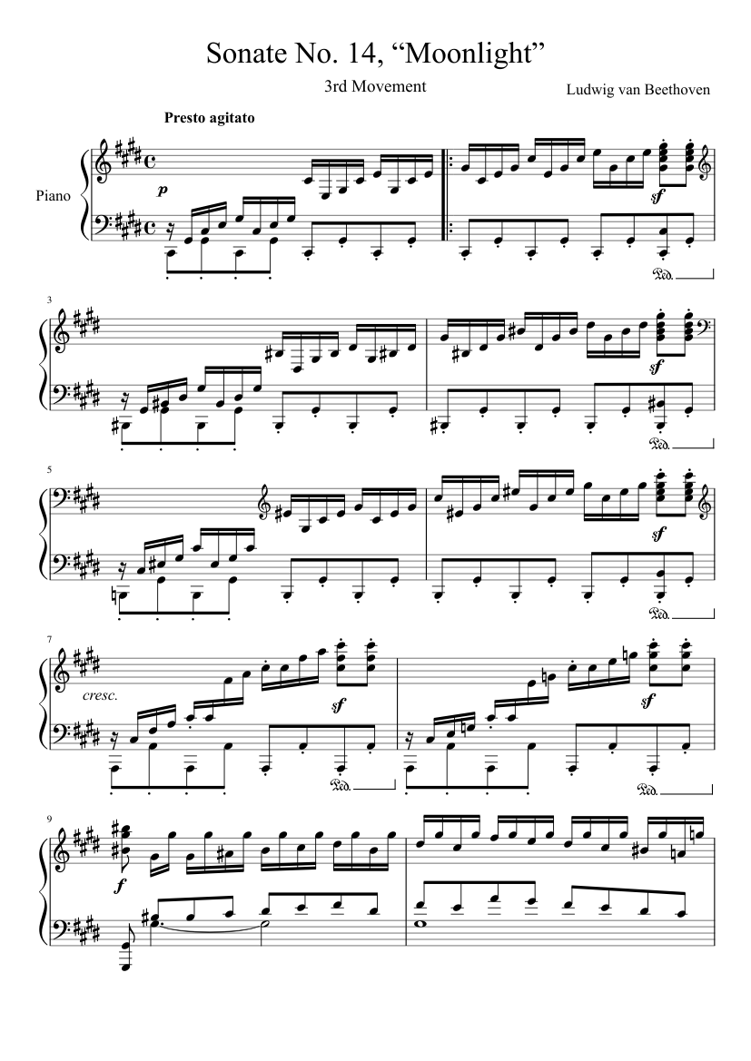 Sonate no. 1, 4th movement sheet music download free in pdf or midi.