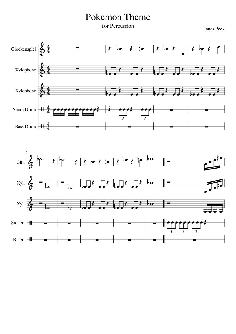 Pokemon Theme Drum Sheet Music