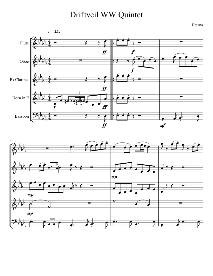 Driftveil City Woodwind Quintet Sheet Music For Flute Clarinet In B Flat French Horn Oboe More Instruments Woodwind Quintet Musescore Com 'driftveil city' from pokemon black & white. driftveil city woodwind quintet sheet