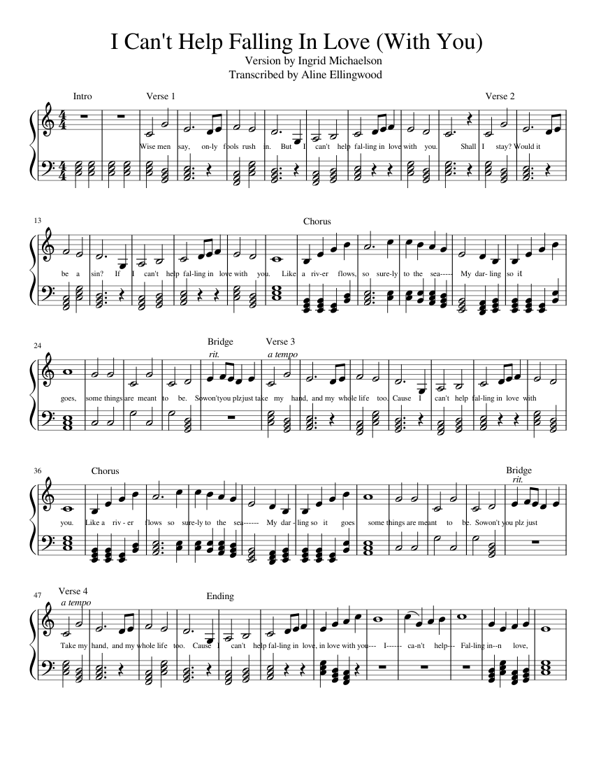 i can't help falling in love (with you) sheet music for piano