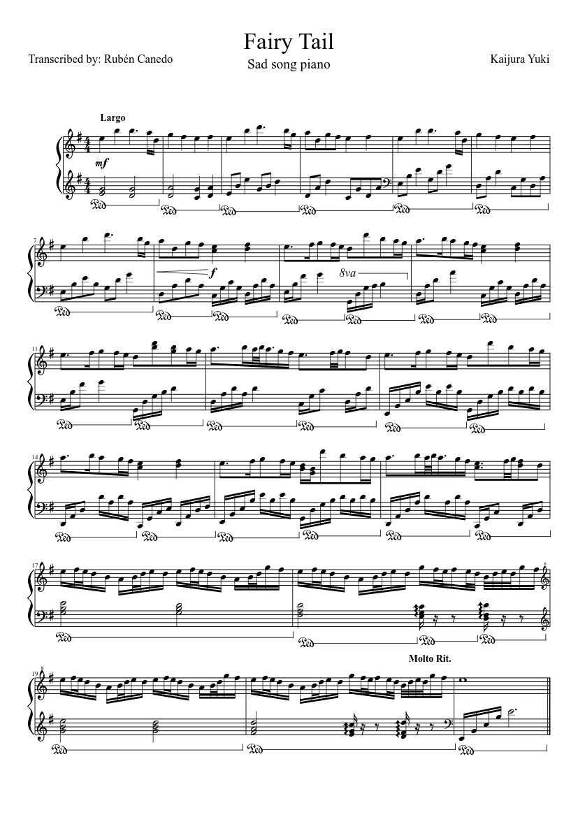 Fairy tail (sad theme) sheet music for piano download free in pdf.