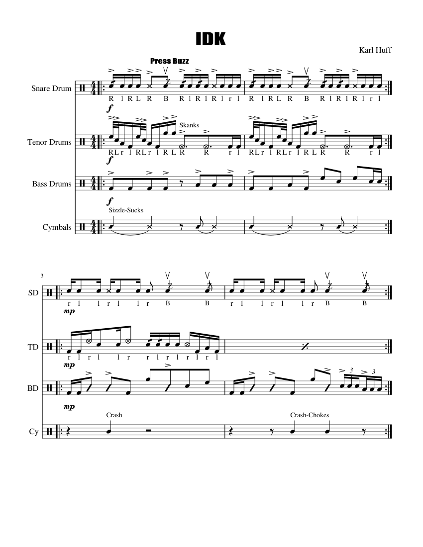 idk drumline cadence sheet music for percussion download free in pdf