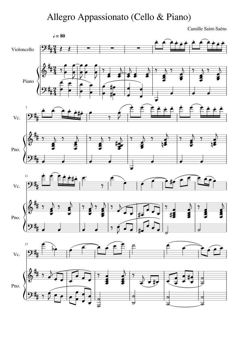 Allegro Appassionato (Cello & Piano) Saint-Saëns sheet music for