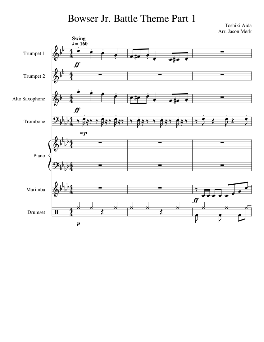 Bowser Jr Battle Theme Mario Party 9 Sheet Music For Piano