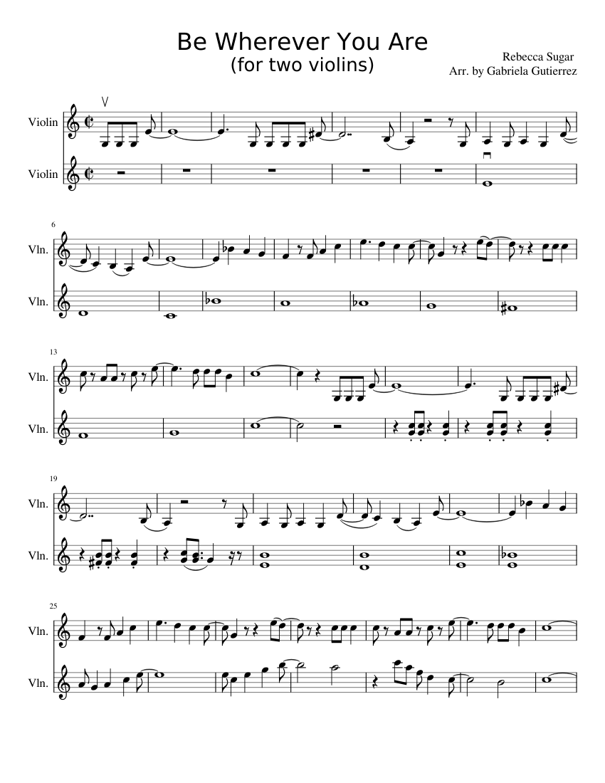 Be Wherever You Are   Steven Universe Sheet music for Violin ...