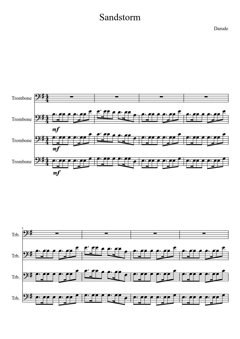 Darude Sandstorm On Trombones Sheet Music For Trombone Download