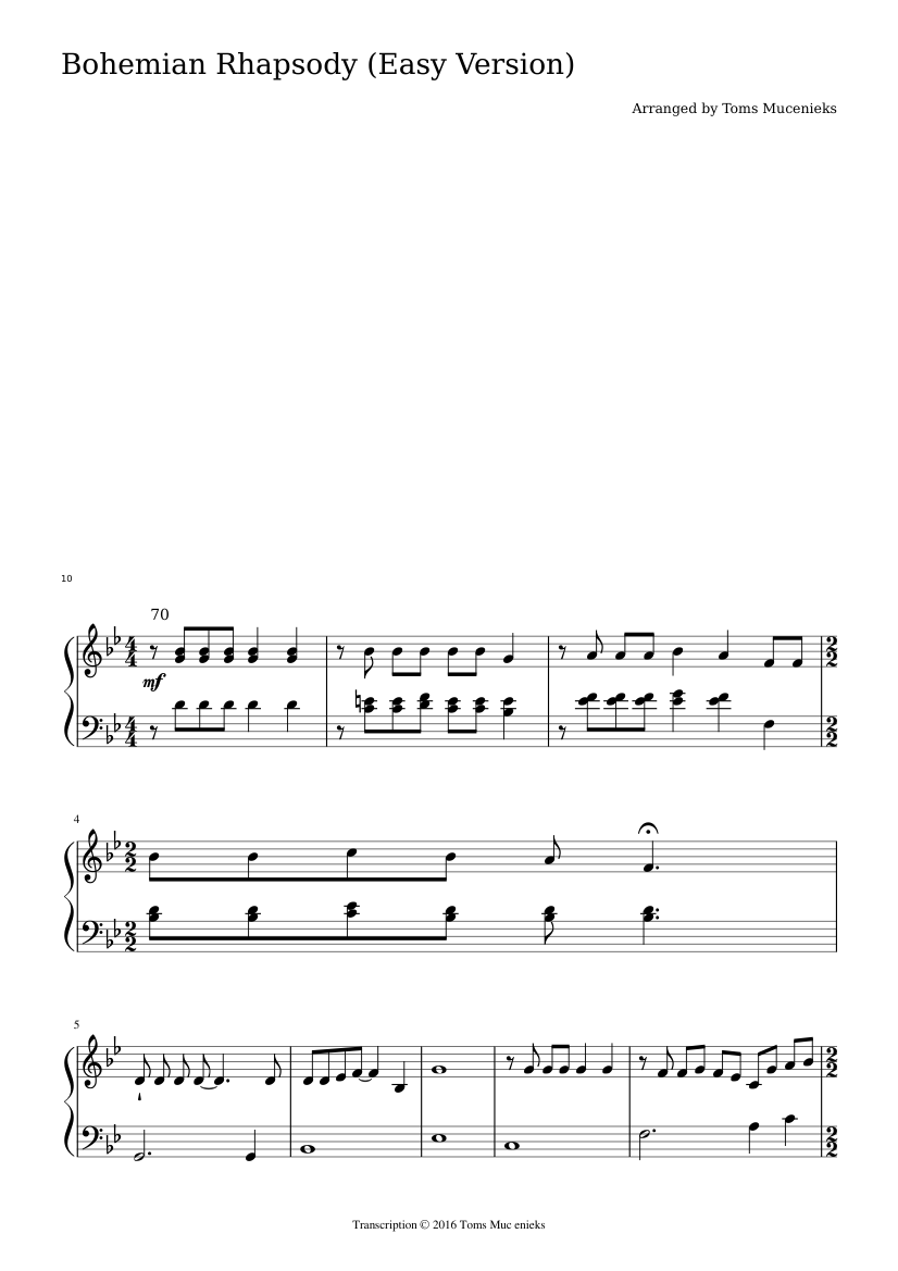 Bohemian Rhapsody (Easy Version) sheet music composed by Arranged by Toms Mucenieks – 1 of 8 pages