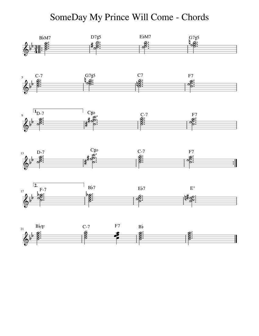 Someday My Prince Will Come Chords Sheet Music For Piano Solo Download And Print In Pdf Or Midi Free Sheet Music Musescore Com