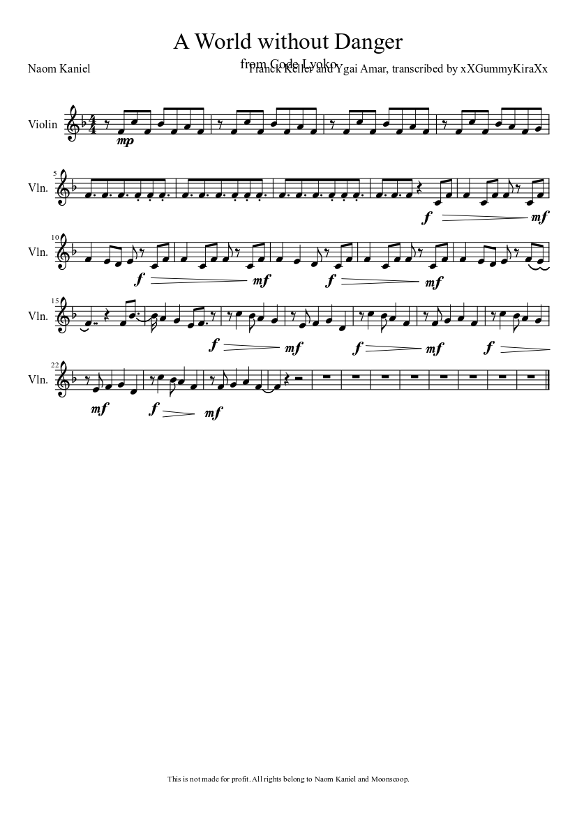 A World Without Danger Sheet Music Composed By Franck Keller And Ygai Amar Transcribed
