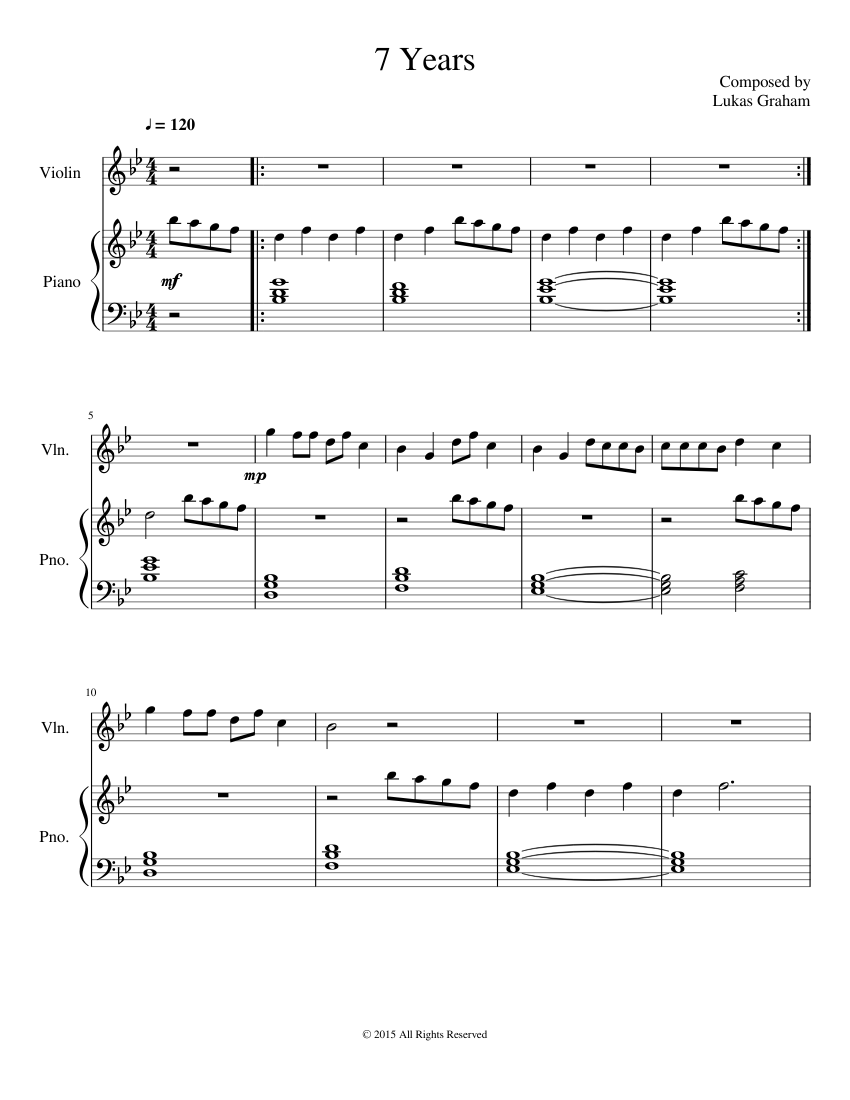 7 Years Piano Sheet Music With Letters 7 years sheet music download free in pdf or midi
