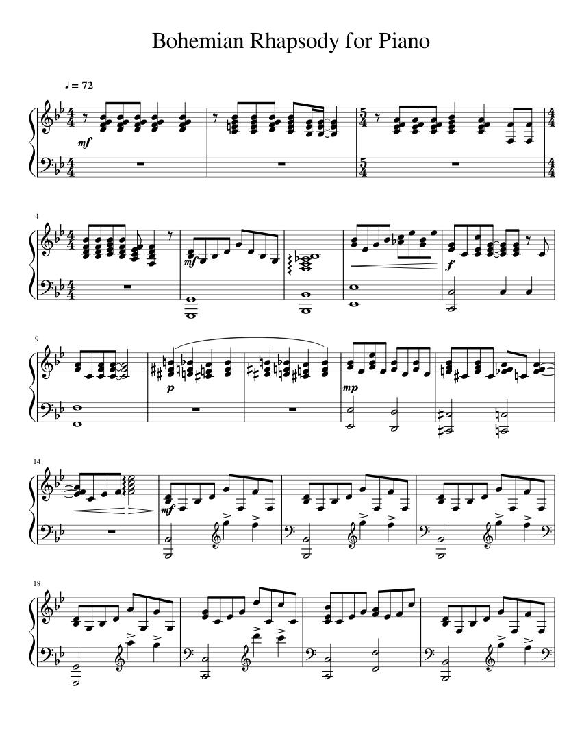 Bohemian Rhapsody For Piano Sheet Music For Piano Download Free In